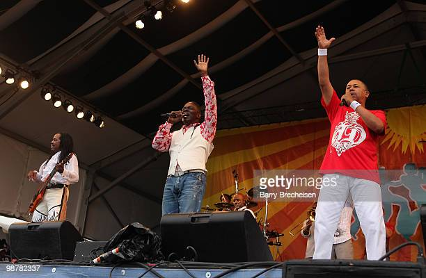 Bass player Verdine White singer Philip Bailey and Ralph Johnson of Earth and Wind and Fire perform during day 5 of the 41st Annual New Orleans Jazz...