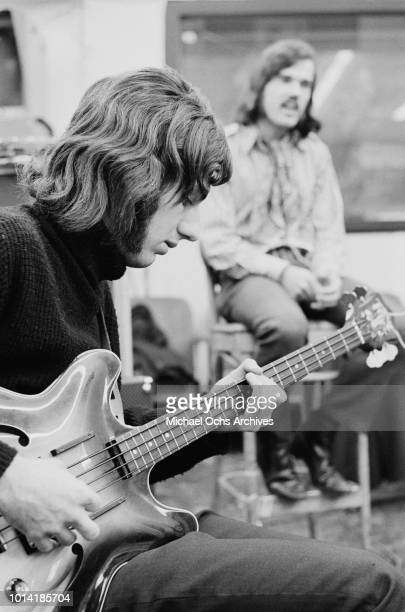 Bass player Wayne Ulaky of American psychedelic rock band Beacon Street Union circa 1966 In background right is the band's singer John Lincoln Wright