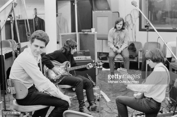Bass player Wayne Ulaky singer John Lincoln Wright and bass guitarist Paul Tartachny of American psychedelic rock band Beacon Street Union circa 1966