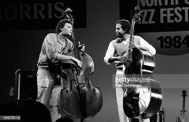 Bass players Miroslav Vitous and Stanley Clarke perform on stage at North Sea Festival on July 10 1984 in The Hague, Netherlands.