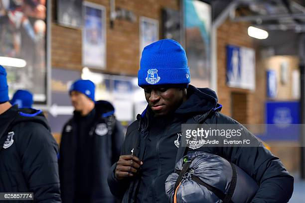Bassala Sambou arrives for the Everton in the Community Sleepover Event at Goodison Park on November 25 2016 in Liverpool England