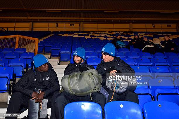 Bassala Sambou Delial Brewster and Anthonee Robinson prepare for the Everton in the Community Sleepover Event at Goodison Park on November 25 2016 in...