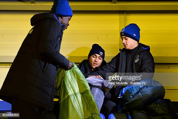 Bassala Sambou Dominic CalvertLewin and Anthonee Robinson prepare for the Everton in the Community Sleepover Event at Goodison Park on November 25...