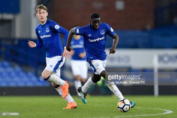 Bassala Sambou of Everton on the ball during the Premier League 2 match between Everton U23 and Swansea City U23 at Goodison Park on March 5 2018 in...