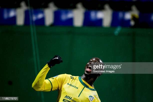Bassala Sambou of Fortuna Sittard celebrates 1-0 during the Dutch KNVB Beker match between Fortuna Sittard v PEC Zwolle at the Fortuna Sittard...