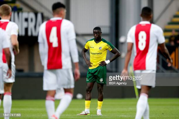 Bassala Sambou of Fortuna Sittard looks dejected after conceding his sides third goal during the Dutch Eredivisie match between Fortuna Sittard and...