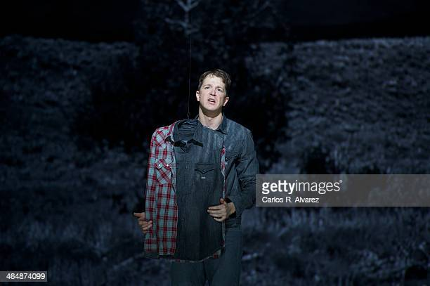 Bassbaritone Daniel Okulitch performs on stage during a press preview of the 'Brokeback Mountain' Opera at the Teatro Real on January 24 2014 in...