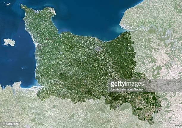 Basse Normandie region France true colour satellite image with mask This image was compiled from data acquired by LANDSAT 5 7 satellites...