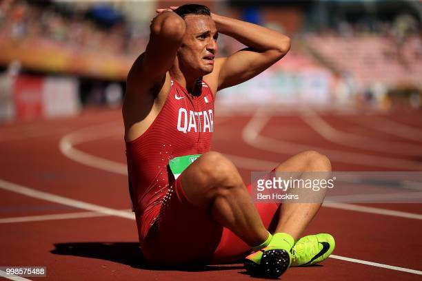 Bassem Hemeida of Qatar reacts after finding out he won silver in the final of the men's 400m on day five of The IAAF World U20 Championships on July...