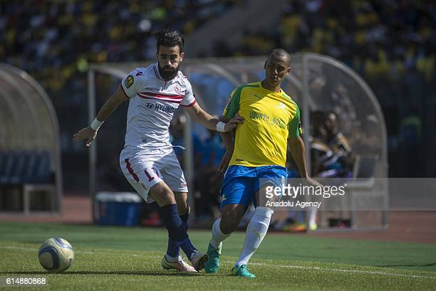Bassem Morsi of Zamalek in action against Wayne Arendse of Mamelodi Sundowns during the CAF Champions League match between Mamelodi Sundowns and...