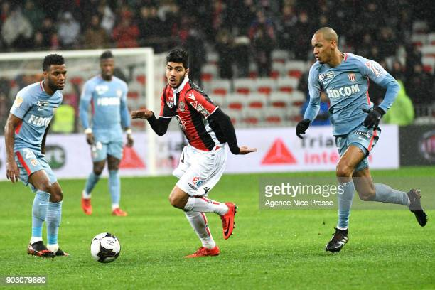 Bassem Srarfi of Nice and Fabinho of Monaco during the League Cup match between Nice and Monaco at Allianz Riviera Stadium on January 9 2018 in Nice...