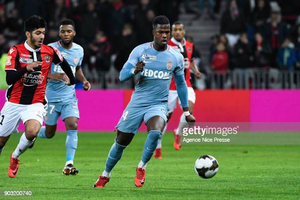 Bassem Srarfi of Nice and Keita Balde of Monaco during the League Cup match between Nice and Monaco at Allianz Riviera Stadium on January 9 2018 in...