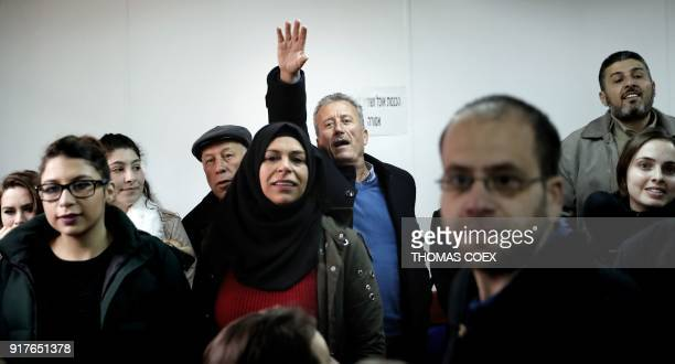 Bassem Tamimi the father of seventeenyearold Palestinian Ahed Tamimi a wellknown campaigner against Israel's occupation waves as she arrives for the...