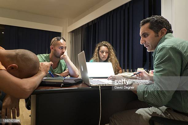 Bassem Youssef keeps an eye on the process as he and his writers parse ideas for the upcoming season on October 04 in Cairo Egypt Youssef is an...