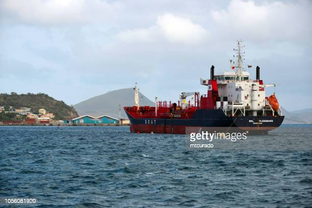 basseterre, rhl flensburg tanker moored in basseterre bay - there is no oil refinery in the country, gasoline and diesel are imported - saint kitts and nevis - monrovia liberia stock photos and pictures