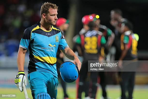 Basseterre Saint Kitts and Nevis 3 July 2016 David Miller leaves the field of play out bowled during Match 6 of the Hero Caribbean Premier League...