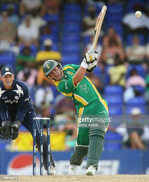 Basseterre St Kitts SAINT KITTS AND NEVIS South Africa's AB de Villiers plays a drive during the ICC World Cup Group A match against Scotland on the...