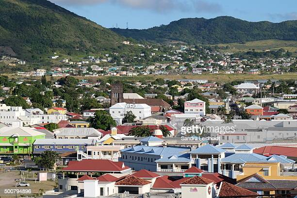 basseterre:  the colorful capital of st kitts island - st. kitts stock photos and pictures