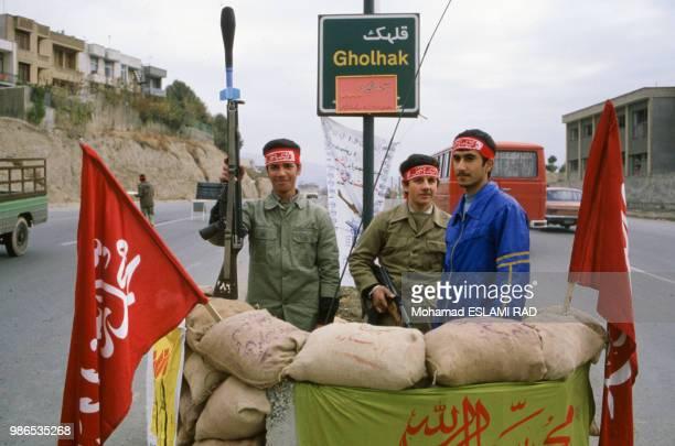 Bassidjis miliciens du régime de Khomeiny le 1er décembre 1986 à Téhéran Iran