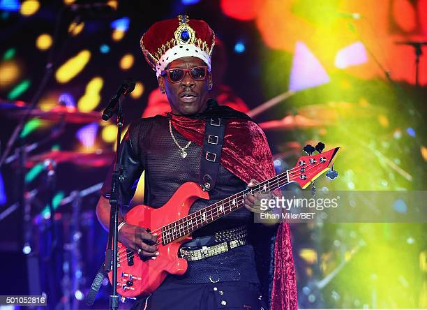 Bassist Aaron Mills of Cameo performs during the 2015 Soul Train Music Awards at the Orleans Arena on November 6 2015 in Las Vegas Nevada