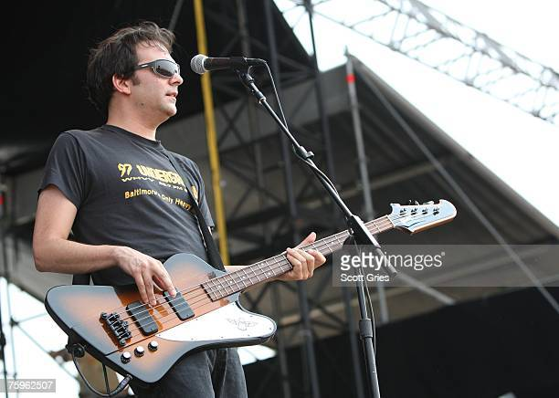 Bassist Adam Schlesinger of Fountains of Wayne performs onstage at the Virgin Festival By Virgin Mobile 2007 at Pimlico Race Course on August 4 2007...