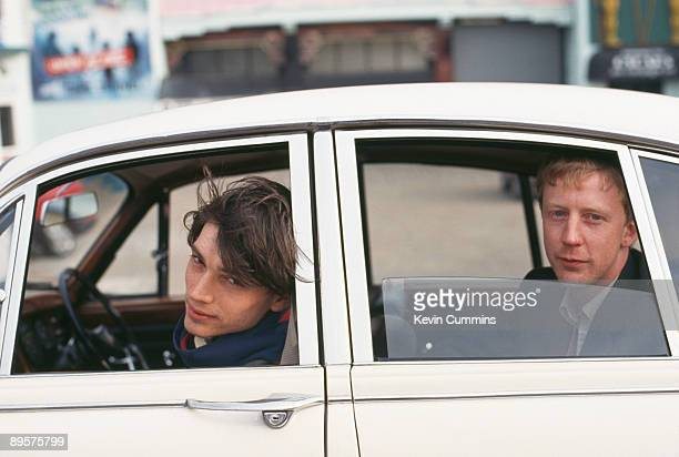 Bassist Alex James and drummer Dave Rowntree of English rock band Blur pose in ClactononSea Essex March 1993