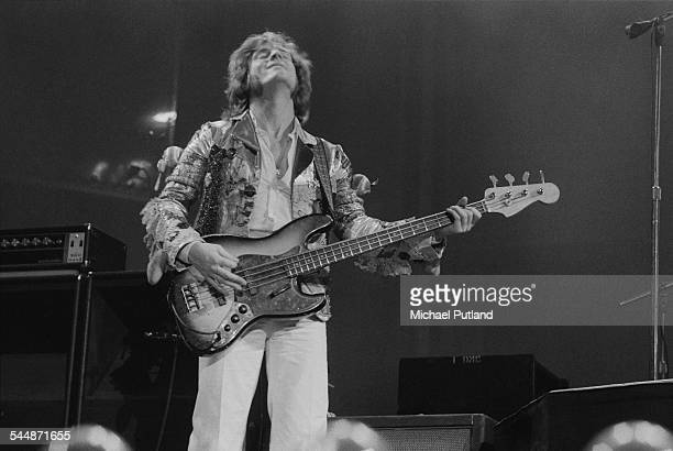 Bassist and keyboard player John Paul Jones performing with British heavy rock group Led Zeppelin at Earl's Court London May 1975 The band were...