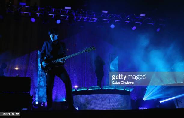Bassist and keyboardist Matt McJunkins and singer Maynard James Keenan of A Perfect Circle perform during the Las Rageous music festival at the...