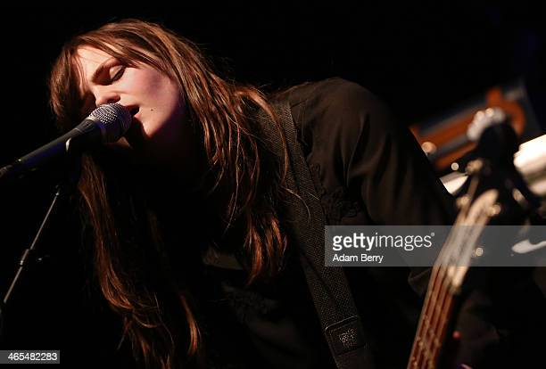 Bassist and singer Linn Froekedal of Norwegian band The Megaphonic Thrift opens for Stephen Malkmus and The Jicks during a concert at Postbahnhof on...