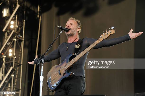 Bassist and vocalist Sting of English rock group The Police performing live on stage at the Hard Rock Calling festival on June 29 2008 in London