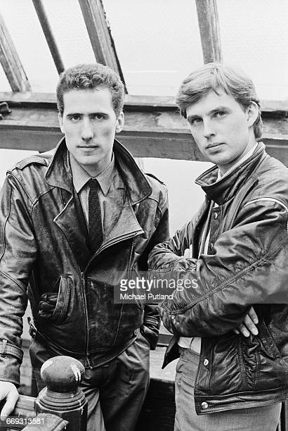 Bassist Andy McCluskey and keyboard player Paul Humphreys of English synthpop duo Orchestral Manoeuvres in the Dark Liverpool 1982
