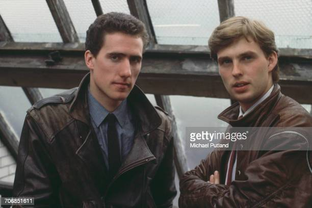 Bassist Andy McCluskey and keyboard player Paul Humphreys of English synthpop duo Orchestral Manoeuvres in the Dark posed together in Liverpool...