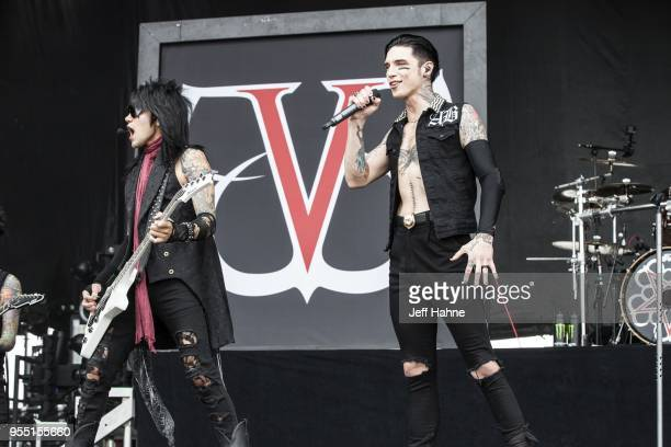 Bassist Ashley Purdy and singer Andy Biersack of Black Veil Brides perform at Charlotte Motor Speedway on May 5 2018 in Charlotte North Carolina