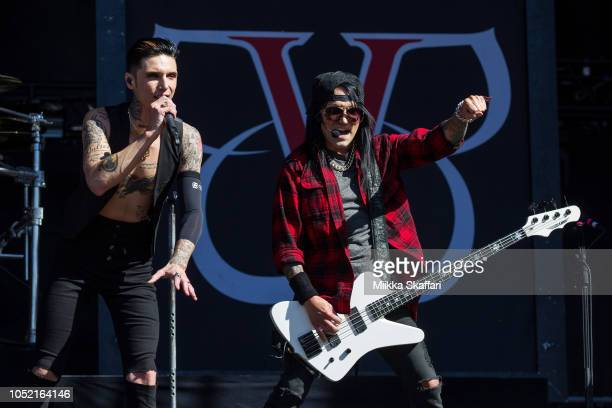 Bassist Ashley Purdy and vocalist Andy Biersack of Black Veil Brides perform at Aftershock Festival 2018 at Discovery Park on October 14 2018 in...