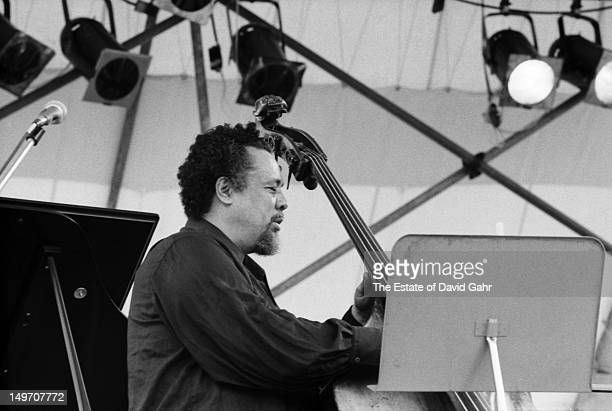 Bassist bandleader and composer Charles Mingus performs at the Newport Jazz Festival New York in July 1973 in New York City New York