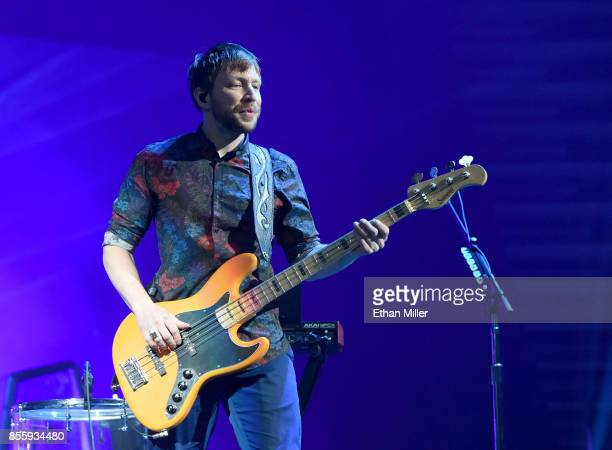 Bassist Ben KcKee of Imagine Dragons performs during a stop of the band's Evolve World Tour at TMobile Arena on September 29 2017 in Las Vegas Nevada