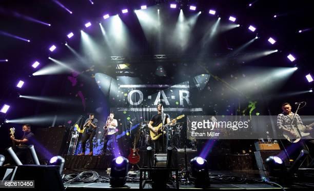 Bassist Benj Gershman of OAR touring trumpet player Jon Lampley saxophonist/guitarist Jerry DePizzo and singer/guitarist Marc Roberge of OAR touring...