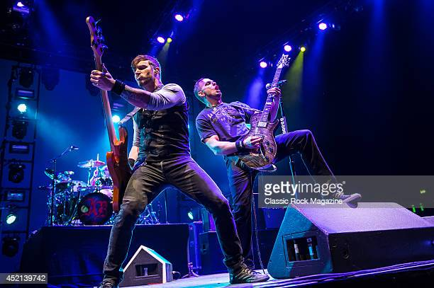 Bassist Brian Marshall and guitarist Mark Tremonti of American rock group Alter Bridge performing live on stage at Wembley Arena in London on October...