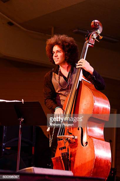 Bassist Carlitos Del Puerto performs on stage with David Sanborn and Bob James at the Vancouver Wine Jazz Festival Esther Short Park Vancouver...