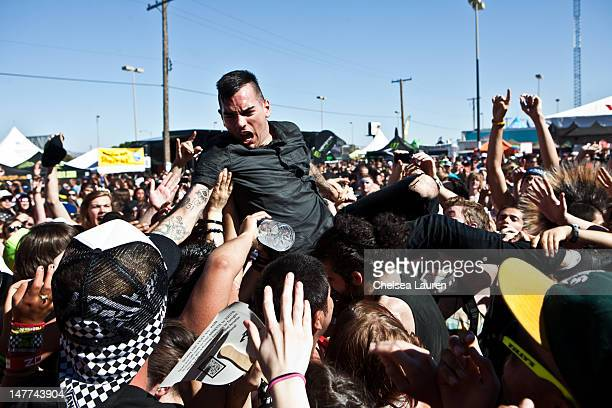Bassist Chris Barker of AntiFlag performs at the 2012 Vans Warped Tour the Luxor Hotel on June 20 2012 in Las Vegas Nevada