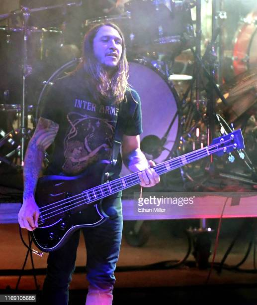 Bassist Chris Johnson of Deafheaven performs during Psycho Las Vegas at the Mandalay Bay Beach at Mandalay Bay Resort and Casino on August 18 2019 in...