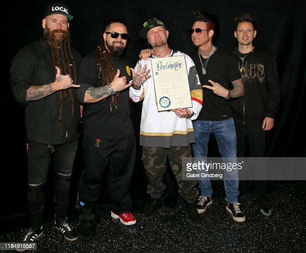 Bassist Chris Kael guitarist Zoltan Bathory singer Ivan Moody guitarist Jason Hook and drummer Charlie The Engine Engen of Five Finger Death Punch...
