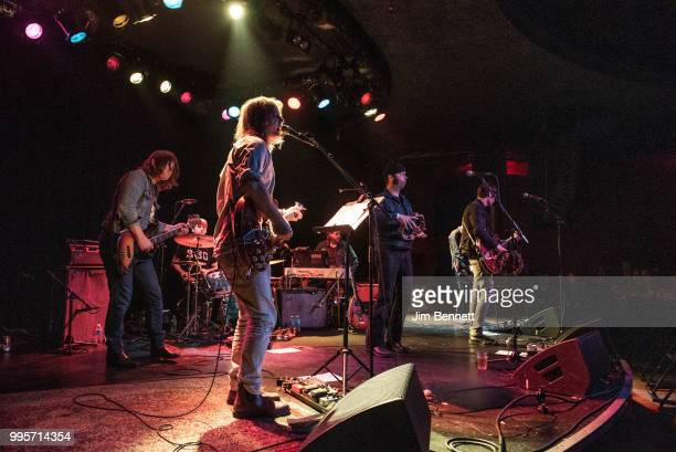 Bassist Collin Hegna drummer Dan Allaire singer guitarist and founding member Anton Newcombe tambourinist Joel Gion and guitarist Frankie Emerson of...