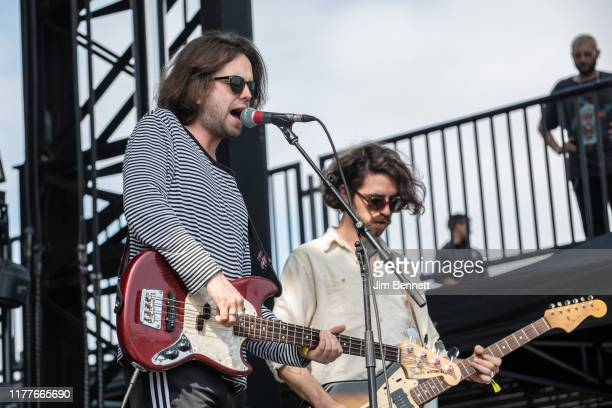 Bassist Conor Deegan III and guitarist Carlos O'Connell of Fontaines D.C. Perform live on stage during Ohana Festival at Doheny State Beach on...