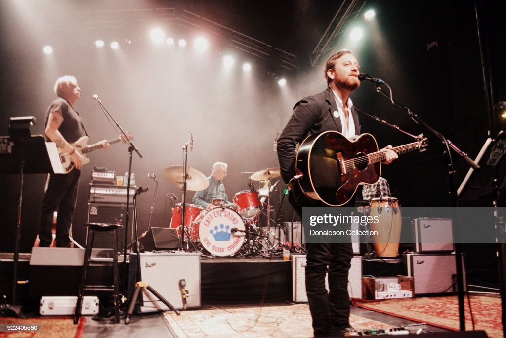 Bassist Dave Roe and drummer Gene 'Bubba' Chrisman and Dan Auerbach of the rock band 'Dan Auerbach and the Easy Eye Sound Revue' performs onstage at the Obervatory on February 18, 2018 in Santa Ana, California.