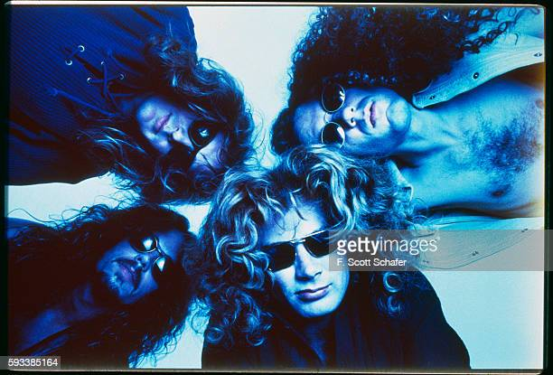 Bassist David Ellefson guitarist Marty Friedman Bottom Drummer Nick Menza and vocalist/guitarist David Mustaine of Megadeth are photographed in 1994...