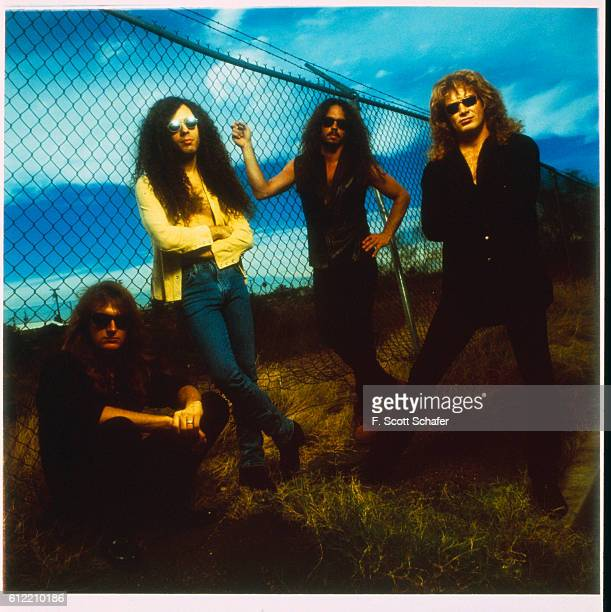 Bassist David Ellefson guitarist Marty Friedman drummer Nick Menza and singer/guitarist David Mustaine of Megadeth are photographed in 1994 in Los...