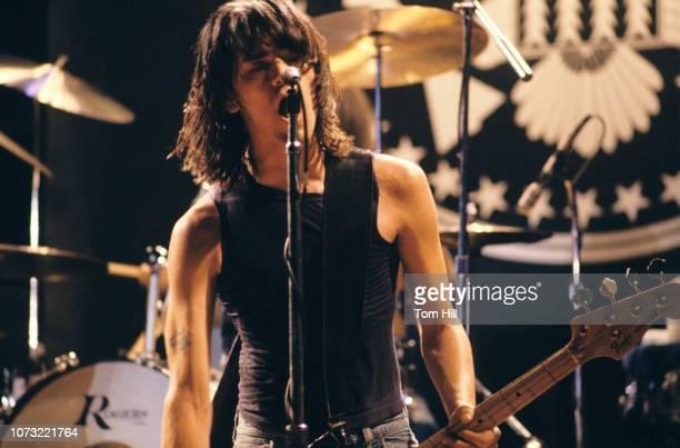 Bassist Dee Dee Ramone of the punkrock band The Ramones performs at Atlanta Municipal Auditorium on February 25 1978 in Atlanta Georgia