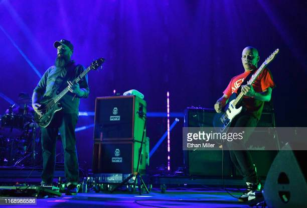 Bassist Dominic Aitchison and frontman Stuart Braithwaite of Mogwai performs during Psycho Las Vegas at the Mandalay Bay Events Center on August 18...