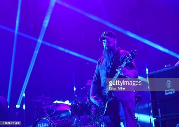 Bassist Dominic Aitchison of Mogwai performs during Psycho Las Vegas at the Mandalay Bay Events Center on August 18 2019 in Las Vegas Nevada